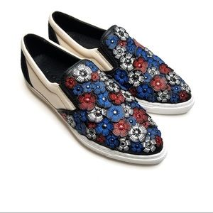 Coach Tea Rose Floral 3-D Slip on Leather Sneakers